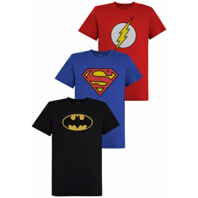 Kit De Camisetas Batman Flash Superman Logo Oficial