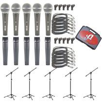 Kit 05 Microfones Arcano A-57 Ou A-58 Com 05 Pedestais