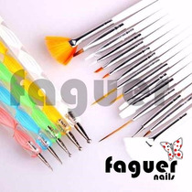 Kit 15 Pinceles + 5 Dottings Para Decoracion Uñas Nail Art