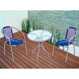 Set Mesa + 2 Sillas Para Exterior Jardín Balcón Patio Pileta