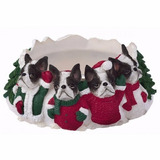 Portavelas Navideño Boston Terrier - Ceramica - Hermoso!