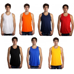 Kit C/10 Camisetas Regata Masculina Lisa Básica Atacado