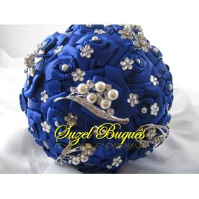 Buquê De Noiva Azul Royal C/ 5 Broches
