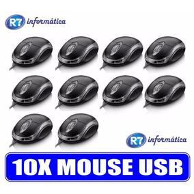 Kit 10 Mouse Usb Óptico Led 800 Dpi Pc Notebook