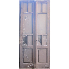 Puerta doble vidrios repartidos medio punto madera roble for Puertas antiguas dobles