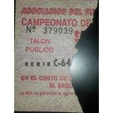 Entrada San Lorenzo 1 Boca 1 Torneo Primera División 1990