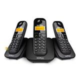 Kit Telefone Sem Fio Com Bina + 2 Ramais Intelbras Ts3113