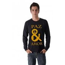 Camiseta Paz E Amor Simbolo Estampado Malha Algodão