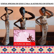 Estatueta Em Gesso Africana - Pintada A Mão-pose
