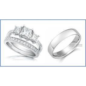 Alianza Y Argolla Matrimoniales En Oro Blanco De 10k Solido