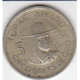 Perú, Antigua Moneda De Nickel 5 Soles De Oro 1.976