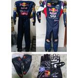 Macacao F1 Kart Red Bull Com Luvas E Sapatilhas