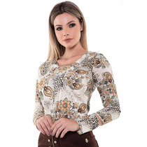 Camisa Blusa Estampada Manga Longa Moda Evangélica Crepe