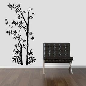 Adesivo Decorativo Parede Floral Bambu Galhos Borboleta
