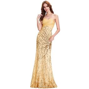 Vestido De Fiesta Dorado Ocre Strapple Boda Graduación Largo