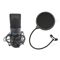 Microfone Arcano Para Estúdio Black Usb 01 + Pop Filter Amf1