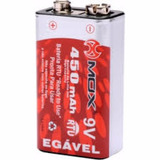 Bateria 9v 450 Mah Rtu Recarregável Mox Lítion Ion