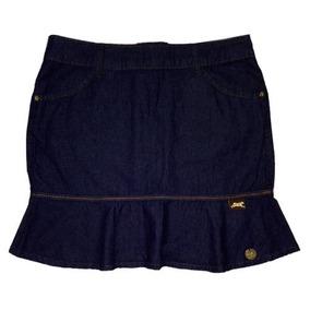 Saia Jeans Mini Com Babado Tamanho 38
