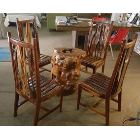 juego de comedor sillas madera palo brasil base mesa