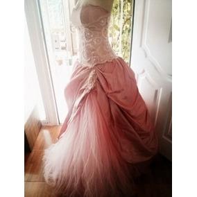 Hermoso Vestido De 15 Años Con Encaje Francés 3 Piezas