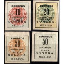 1484 Revolución Sonora Yunque Plata 4 Sellos Nuevos 1915