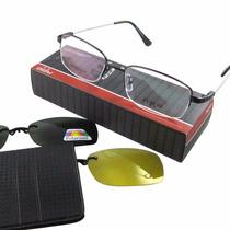 Armação Óculos Titânio Memory 2 Clipon Magnético Sol E Noite