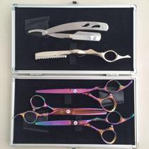 Kit 3 Tesoura Profissional+navalha+luxo Caixa