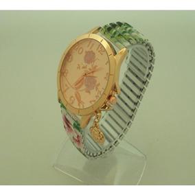 Relógio Feminino De Luxo /bracelete C/ Elasticidade E Flores