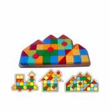 Brinquedo De Madeira Monte Formas Casa 3 Em 1 Carimbras