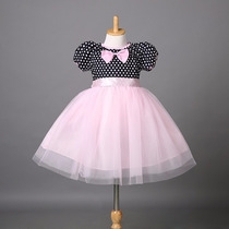 Vestido Fantasia Roupa Infantil Minnie Rosa Frete Grátis