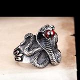 Anel Aço Inox Cobra Naja Wicca Bruxa Magia Serpente Feitiço