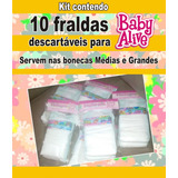 10 Fraldas Descartáveis P\ Baby Alive Grandes E Médias