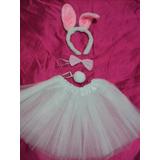 Fantasia Infantil Coelhinha Branca Com Rosa Saia Tule Kit 4