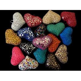 Corazon De Ceramica Vitral Collar Moda Bisutería