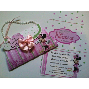 Convite Bolsinha Minnie Infantil 10 Unidades
