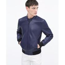 Chaqueta Zara Man Authentic Bnwt Blue Leather
