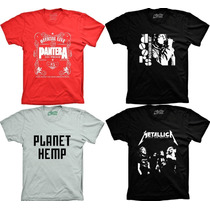 Camisetas Banda Pantera Metallica The Doors Planet Hemp Rock
