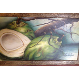Pintura Coco Natureza Morta - Óleo Sobre Tela- 30x60 Pc Unc