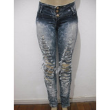 Calça Jeans Destroy Rasgada Malhada Tam 40 Usado Bom Estado