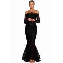 Vestido Largo De Fino Encaje Modelo Único , Muy Elegant
