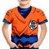 Camiseta Infantil Goku Dragon Ball Z Fantasia Estampa Total