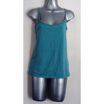 Blusa Playera Algodon Stretch Azul Verde Con Encaje L