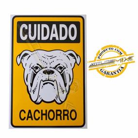 Placa Cuidado Cachorro Bulldog Cão Bravo Advertência