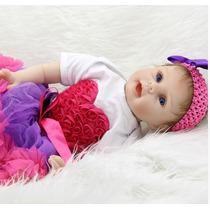 Bebe Reborn Bianca Olho Azul Corpo De Pano Frete Gratis