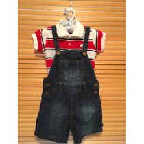 Conjunto Body Mimo + Jardinero Baby Cotton 9 - 12 Meses