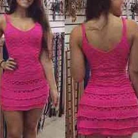 Vestido Feminino Tricot Crochê Renda Roupa Feminina Curto