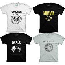 Camiseta Banda Rock Ramones Nirvana Acdc Legião Urbana U2