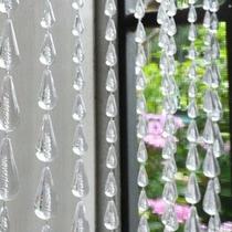 Cortina De Miçangas Contas Acrilicas Cristal Transparente