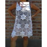 Vestido Playero Tejido Crochet Hilo Algodón