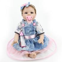 Bebê Reborn Boneca 55cm + Fralda Mamadeira Chupeta Certidão